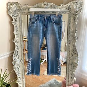 KanCan Cropped Med Blue Destroyed Jeans 26